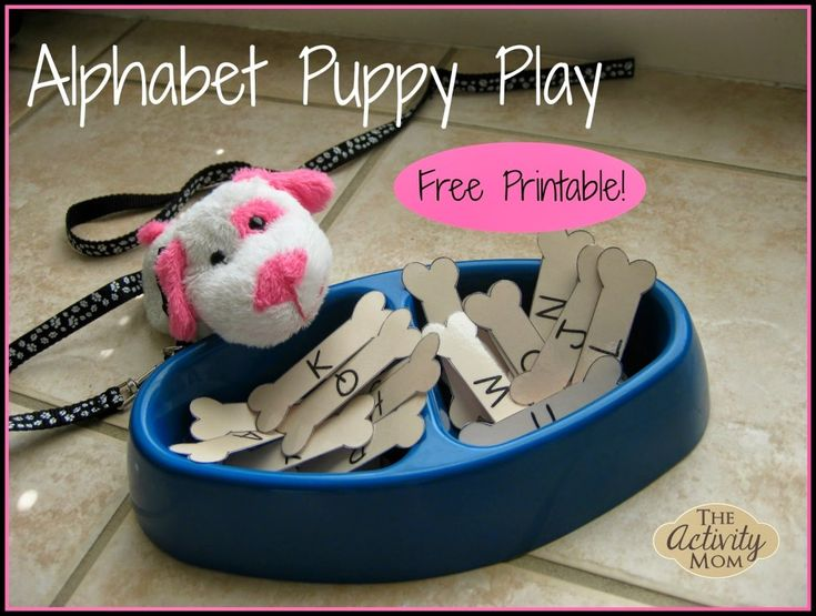 Alphabet Puppy Play with FREE Printable! #preschool #efl #education (repinned by Super Simple Songs)