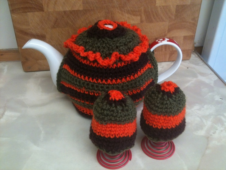 Crocheted tea cosy  egg cup covers