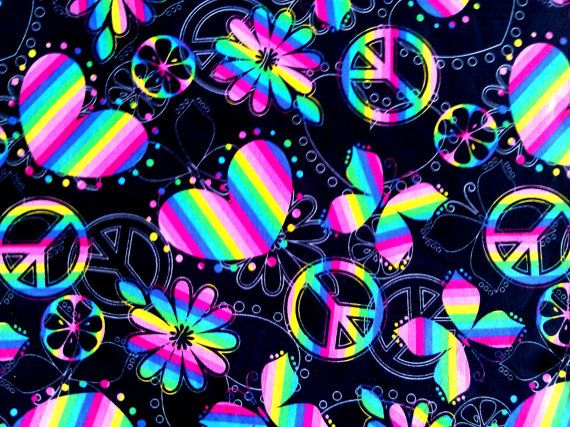 Rainbow Peace and Love fabric