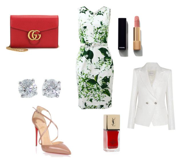 """Sarah's outfit for work"" by maggiesitek on Polyvore featuring Samantha Sung, Gucci, Tiffany & Co., Pierre Balmain, Christian Louboutin, Chanel and Lord & Taylor"