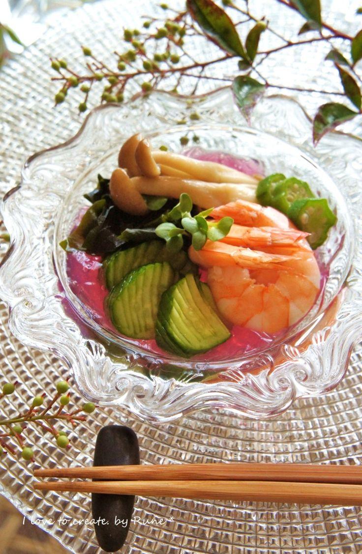 料亭の味!海老の白だし漬けと野菜の酢の物ゼリー寄せ☆ 酢の物の簡単おしゃれレシピ