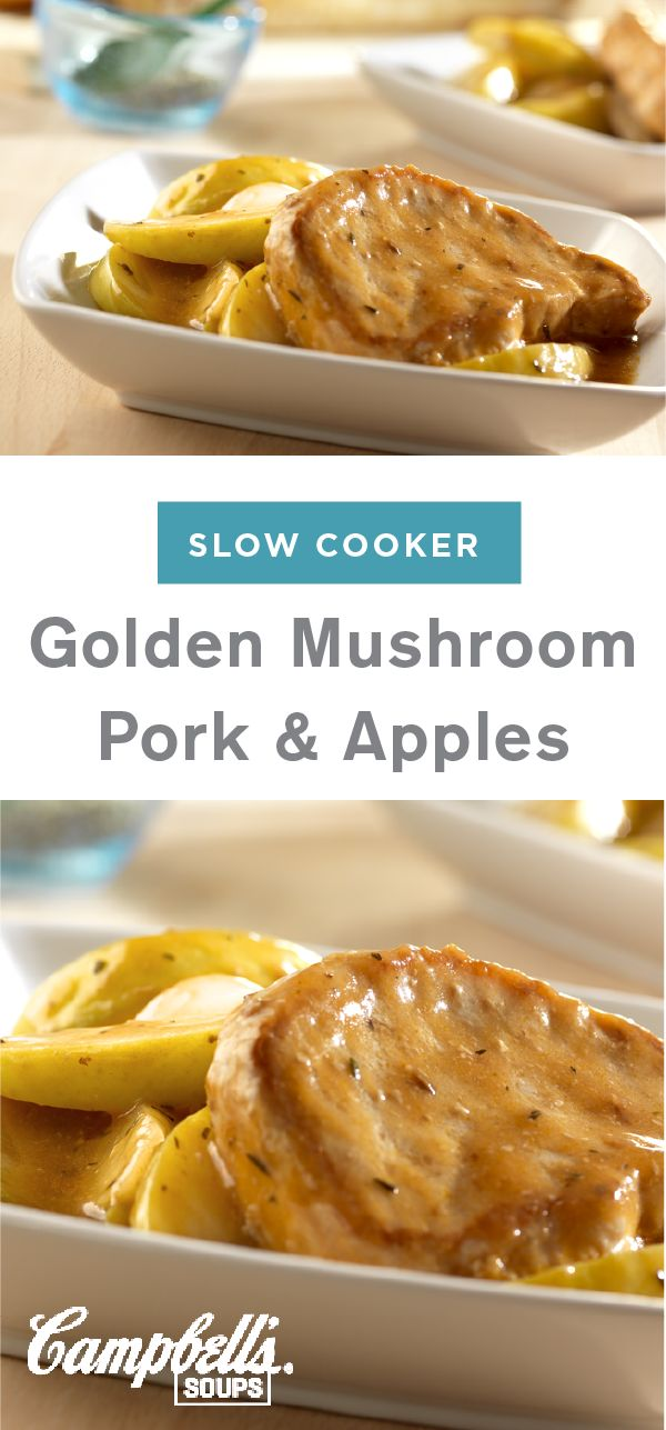 Put this Slow Cooker Golden Mushroom Pork and Apples recipe together in your slow cooker before work and you will come home to a delicious dinner dish loaded with flavor. Boneless pork chops, golden mushroom soup, apple cider vinegar, Worcestershire, onions, and apple all combine to create a delicious blend of sweet and savory.