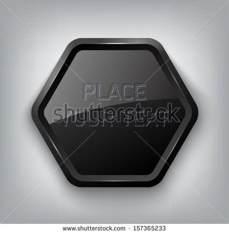 Black vector glossy hexagonal plastic badge