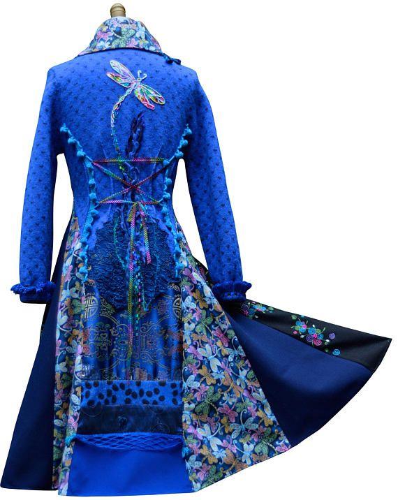 Lange blauwe trui jas Dragonfly Fantasy bovenkleding boho