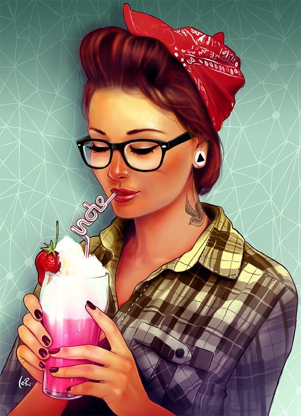Ruiva nerd tomando sorvete - pôster