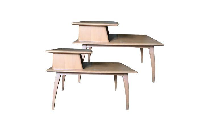 Heywood Wakefield 1950s American Mid-Century Modern Two-Tier Side Tables Set