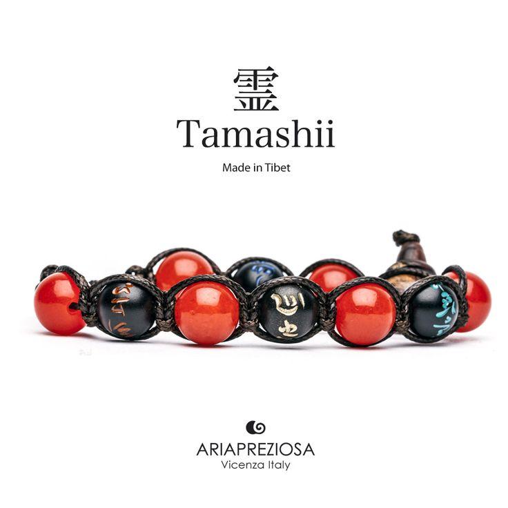 Tamashii - Bracciale originale tibetano (tg. L) realizzato con pietre naturali Agata Rosso Fuoco e legno orientale autentico con SIMBOLI MANTRA incisi a mano