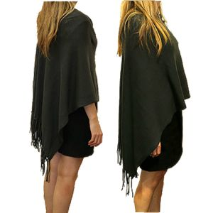 LE FORGE Cotton Fringed Poncho Charcoal