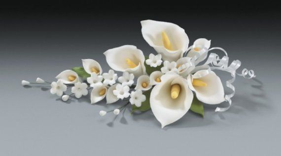 2 Calla Lily Gum Paste Flower Spray for Weddings and Cake
