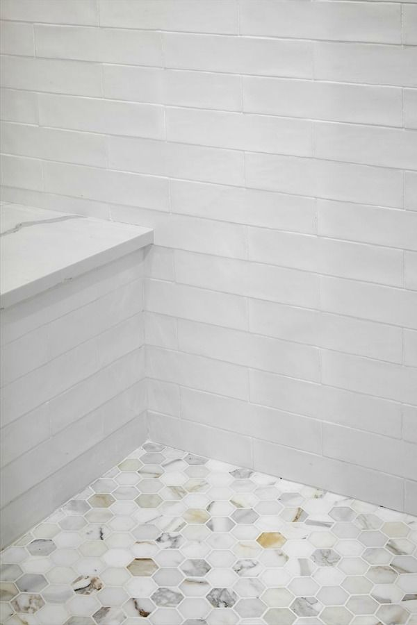 Detail Of Calacatta Gold Marble Hex Tile Shower Floor In Scrivano House In 2020 Calacatta Gold Marble Shower Floor Shower Floor Tile