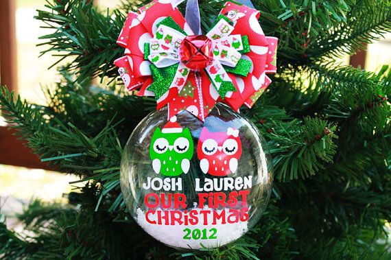 Personalized Names Our First Christmas Ornament First Christmas Together Owl Custom Christmas Ornament Ball - With Names and Year