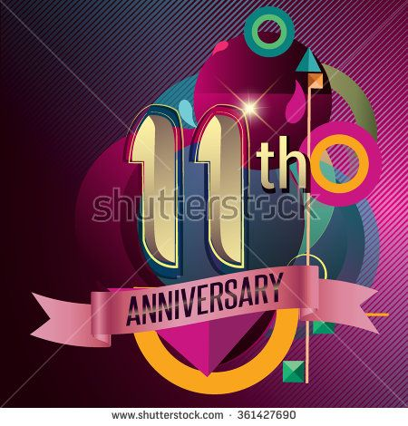 11th Anniversary, Party poster, party invitation - background geometric glowing element. Vector Illustration - stock vector