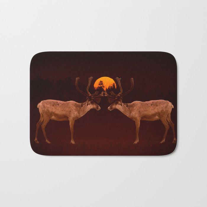 Rendez-vous - Reindeer and Moon #decor#buyart #society6 Bath Mat