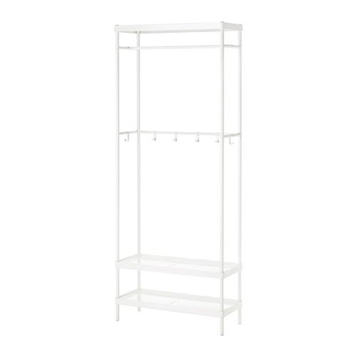 IKEA - MACKAPÄR, Coat rack with shoe storage unit, You can place the clothes rail at the front or rear part of the cabinet, depending on if you want to use hangers or hooks.The hooks can be moved around to accommodate what you hang up.