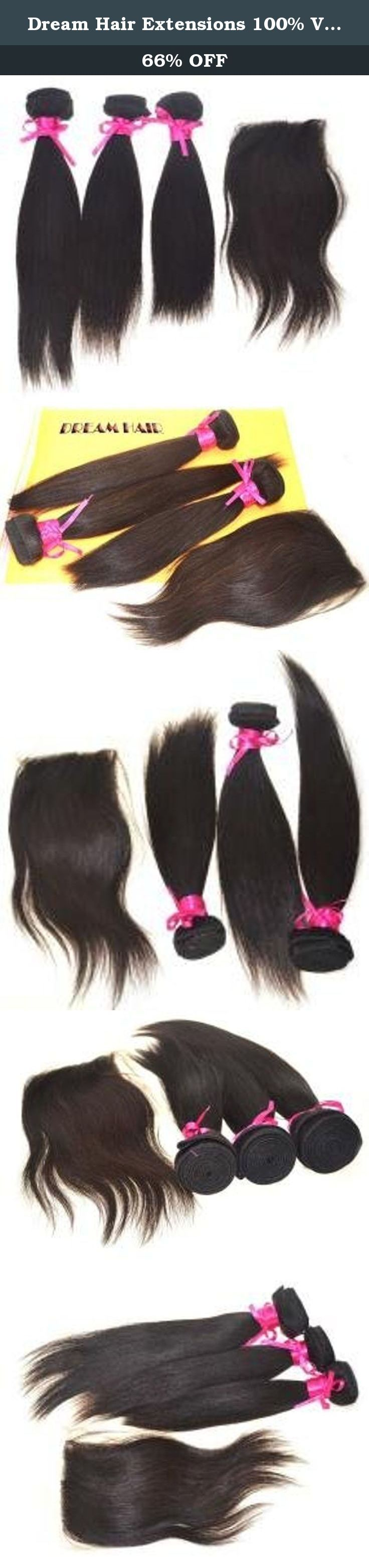 "Dream Hair Extensions 100% Virgin Peruvian Weave for Cheap Straight 3 Bundles 12""-30"" and 1 Lace Closure (4*4) Natural Color (1B) (18''20''22''+14''closure). We carry only 100% REAL human hair. It is then shipped to our own factory where it is assembled and packaged. This is how we are able to provide a product with the strictest quality standards for an unbeatable price. Our REAL human hair is completely natural and no chemical processes are used. We have our own team of hair collectors..."