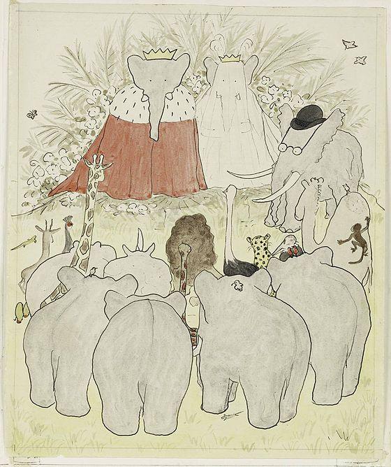 «Mariage et couronement du roi Babar et de la reine Céleste», aquarelle extraite d'Histoire de Babar, le petit éléphant (1931).