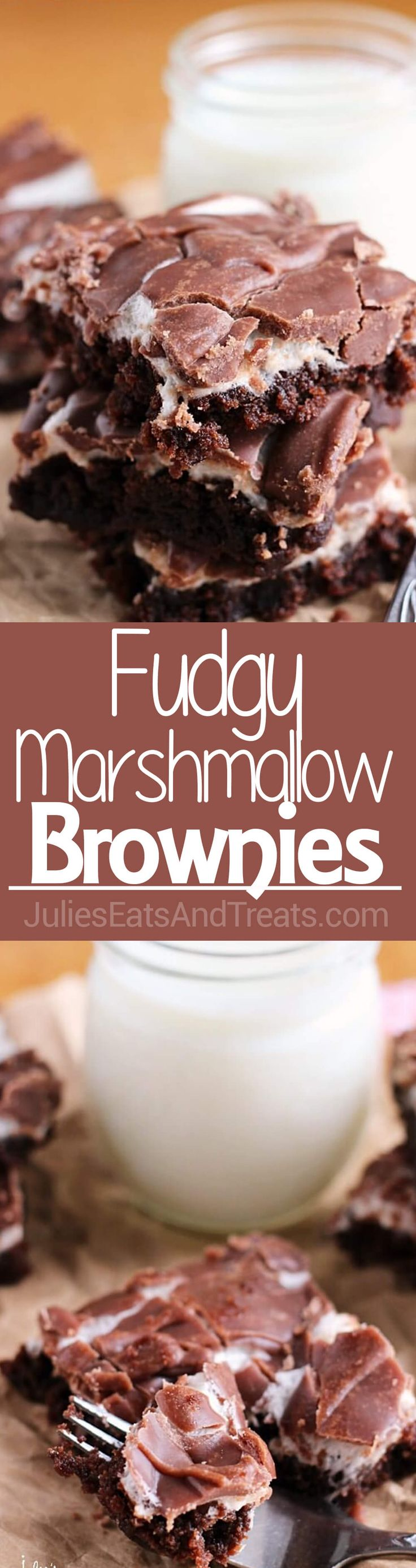 Fudgy Marshmallow Brownies ~ Soft, Chewy Brownie Topped with Marshmallows and Chocolate Frosting! ~ http://www.julieseatsandtreats.com