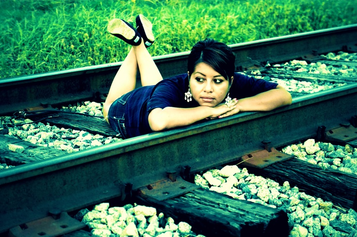 a different way to pose on railroad trax. I like it