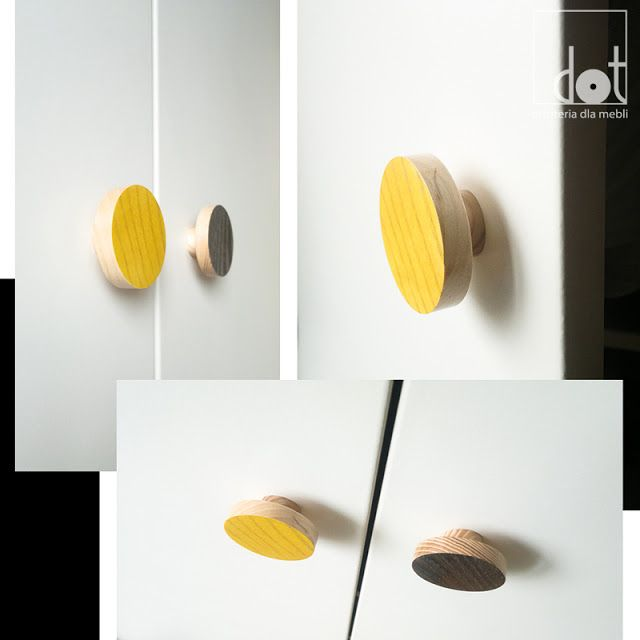 drewniane gałki kolorowe, our wooden knobs in yellow and gray version
