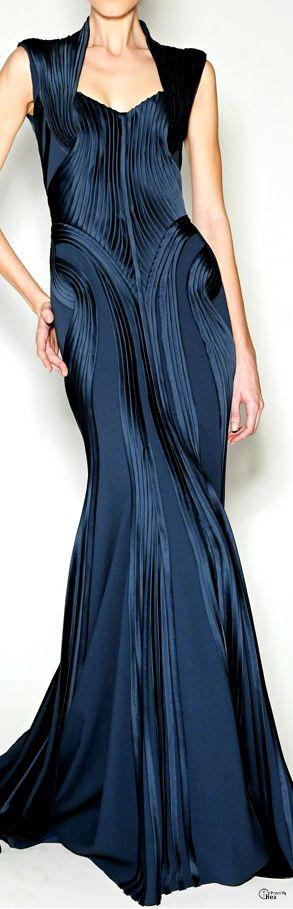 Rosamaria G Frangini | Fashion Details | Zac Posen Pre-Fall 2014 Navy Blue Gown