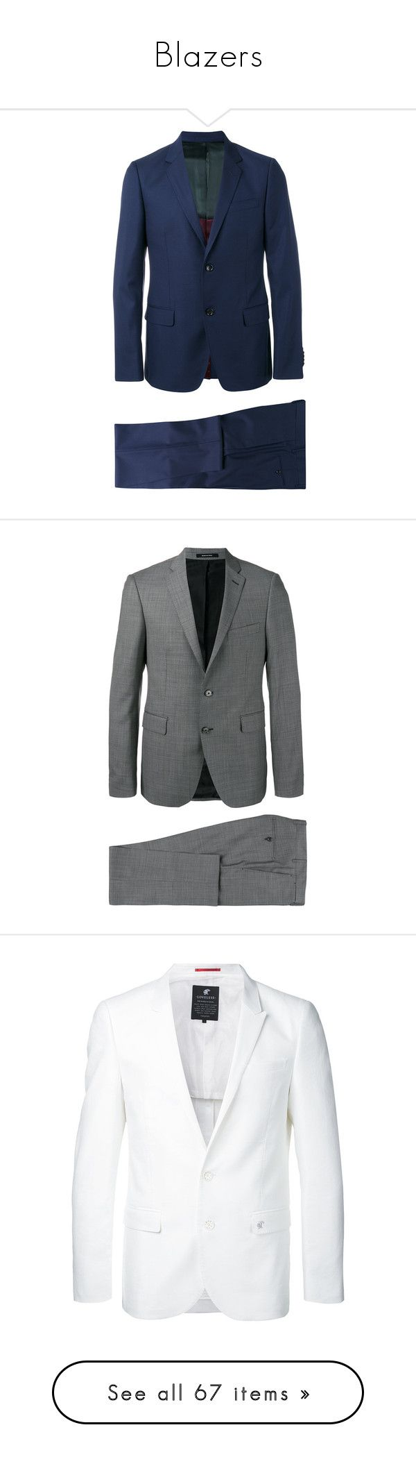 """Blazers"" by spectrum98 ❤ liked on Polyvore featuring men's fashion, men's clothing, men's suits, blue, gucci mens clothing, mens two piece suits, mens blue slim fit suit, mens slim suits, mens slim fit suits and grey"