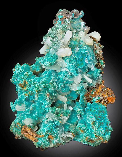 Rosasite with Calcite and Hemimorphite, Mexico xxx