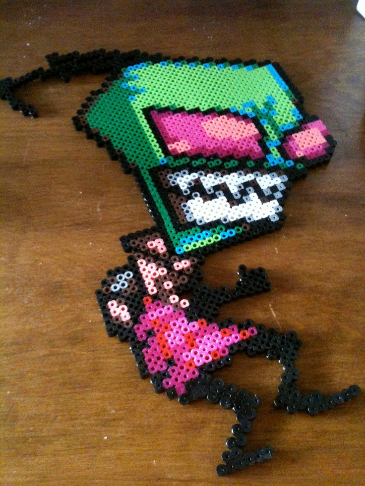 Invader Zim Perler Bead Art. $12.00, via Etsy.