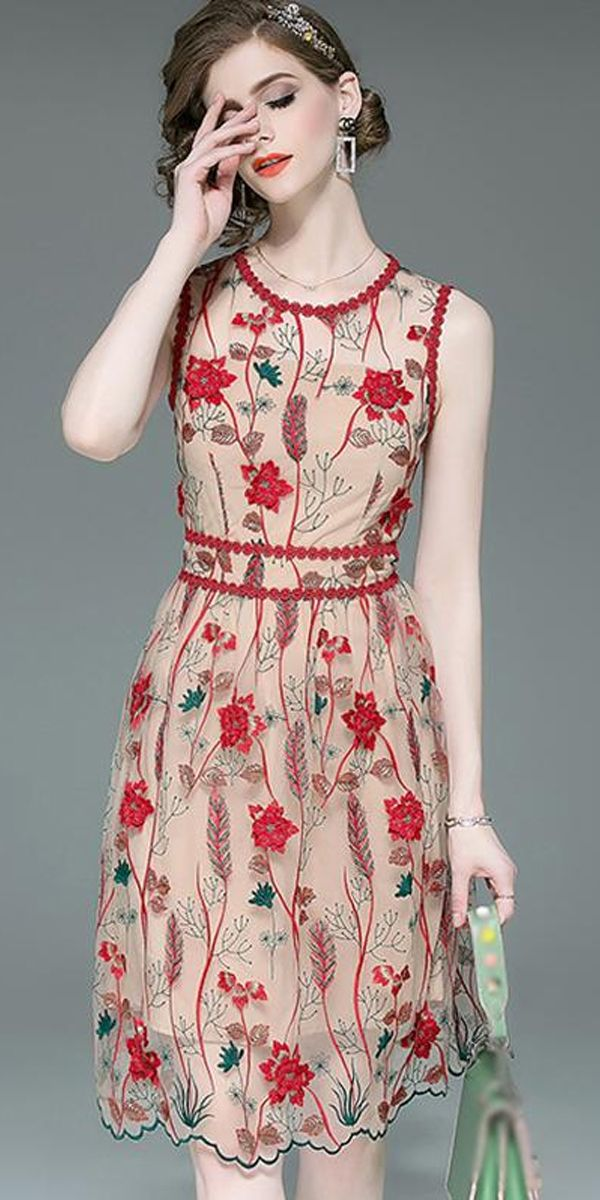 Vintage Heavy Mesh Embroidered Sleeveless Pinafore Slim A-Line Dress