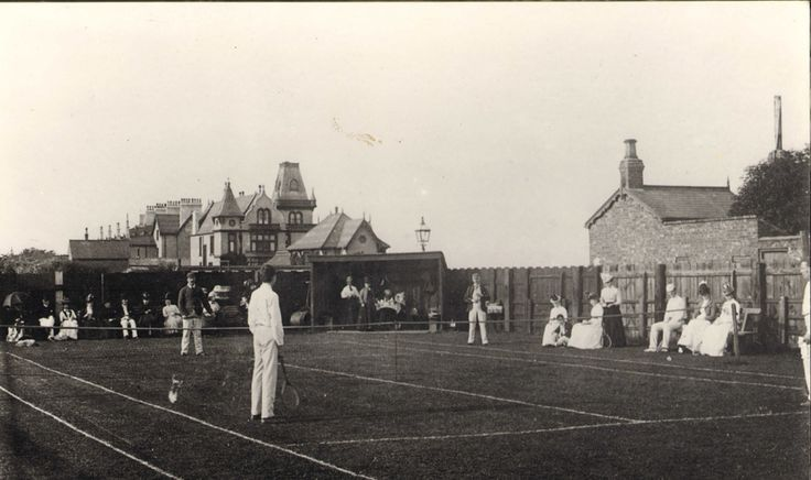 Tennis courts behind Staincliffe Hotel which can be seen in the background