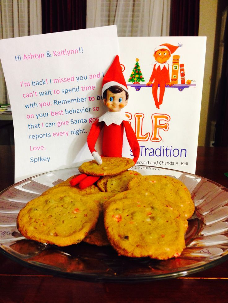 Spikey, our Elf on the Shelf is back and he brought goodies :)