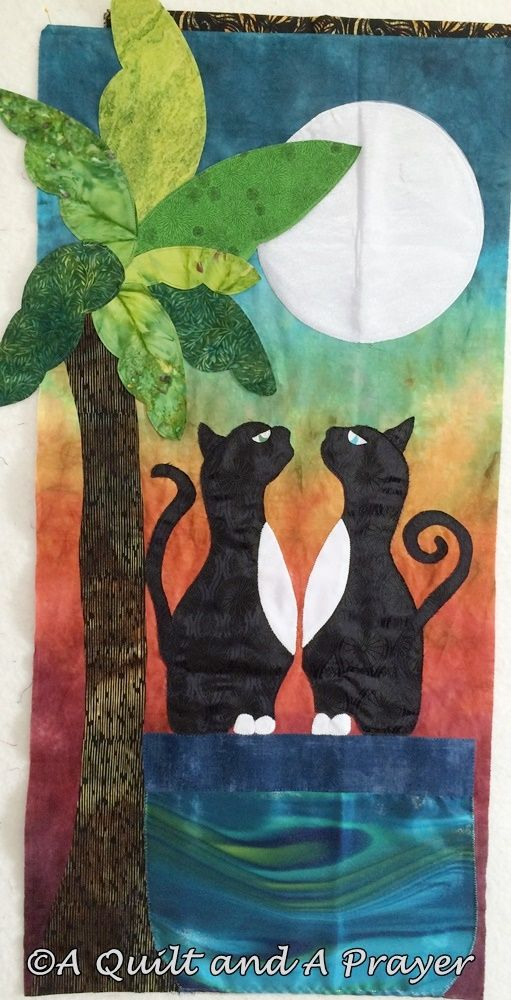 """Moon Over Meowmi""  by A Quilt and A Prayer. "" Jellicle Moon"" pattern by Deborah Levy."