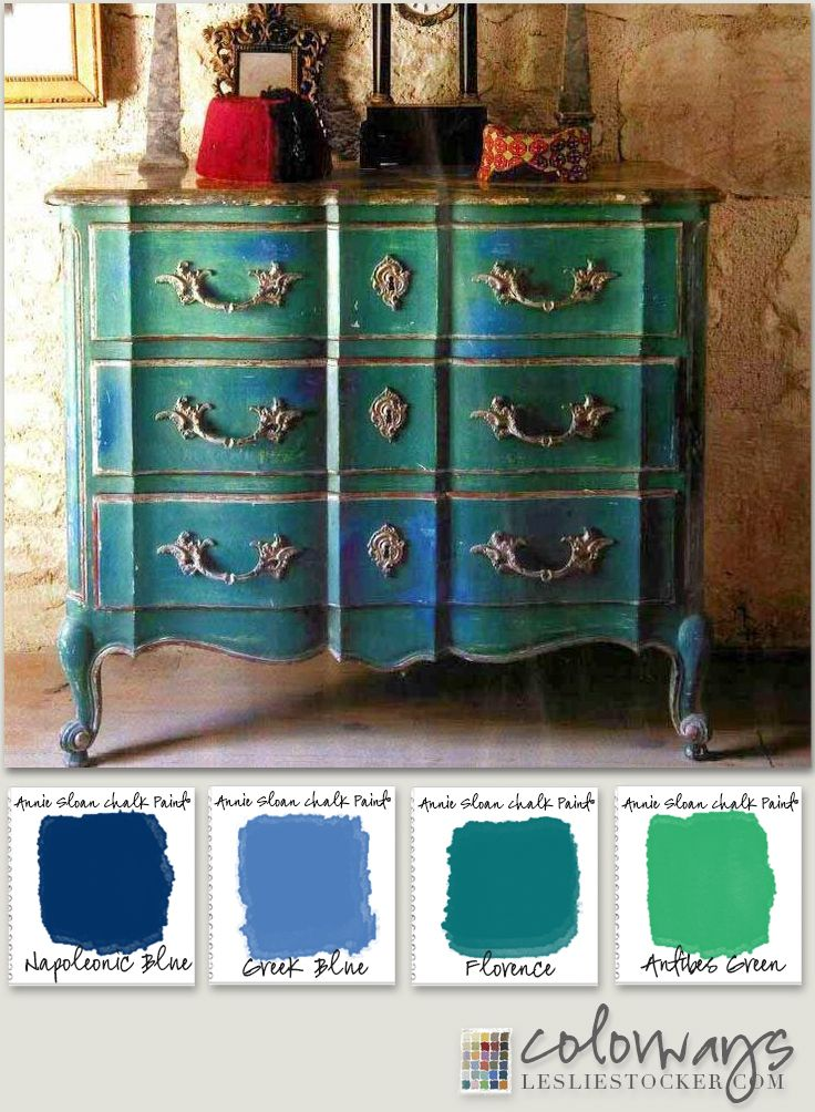 Painted Furniture Inspiration : Sugggestions of Annie Sloan Chalk Paint® for similar finish :: Napoleonic Blue, Greek Blue, Florence, Antibes Green, Gilding Wax :: at Leslie Stocker