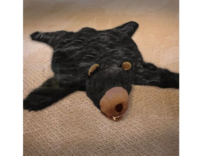 58in Black Bear Plush Faux Animal Skin Rug