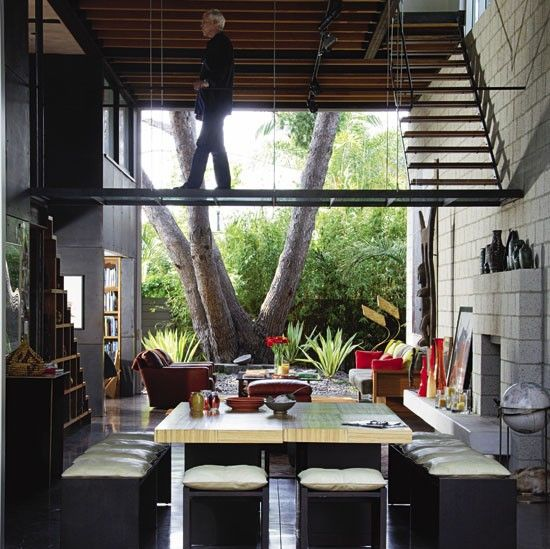 Steven Ehrlich - house owner and architect - http://www.s-ehrlich.com/: Dreams Home, Floating Stairs, Walkways By Steven, Interiors, Design Floating, By Steven Ehrlich, Bysteven Ehrlich, Walkways Bysteven, Floating Staircases