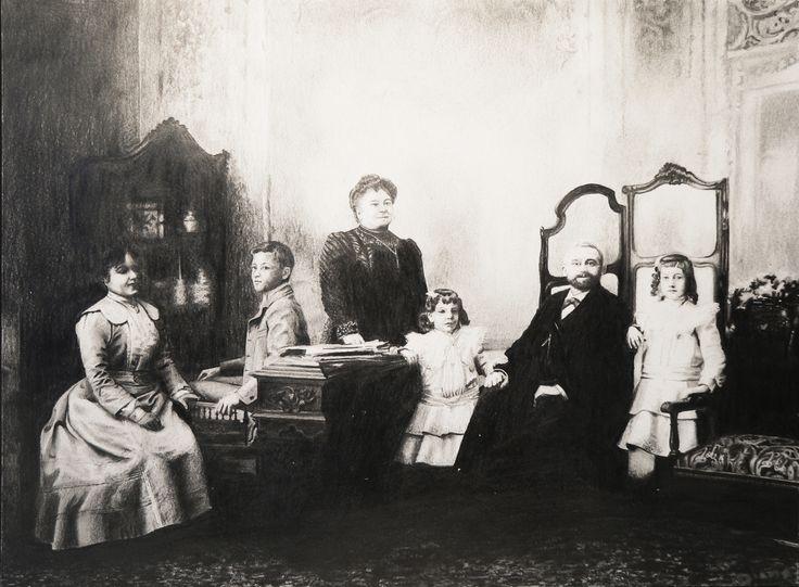 *Familia antigua* Grafito. 27 x 36 cm. Año 1997.