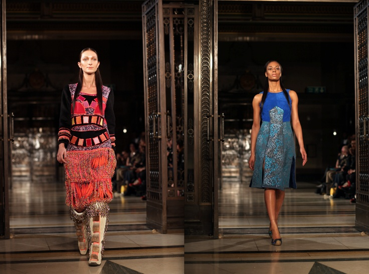 Tribal influences seen at Nova Chiu's AW13 #LFW show - Image by Max Barnett