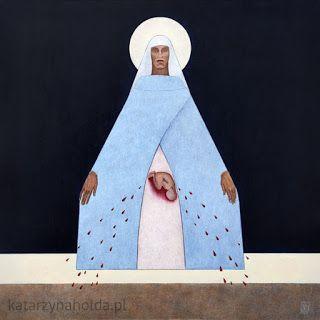 KATARZYNA HOŁDA: MARIA GIVING BIRTH acrylic on canvas, 80cmx 80cm, 2011 katarzynaholda.pl Prints on: http://www.saatchiart.com/katarzynaholda