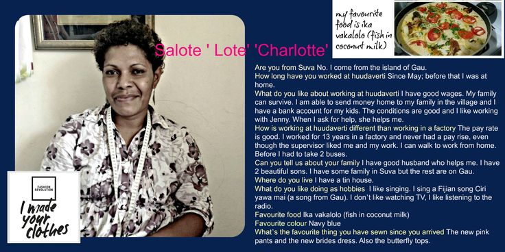 We want you to meet the people who make our clothes. Introducing Charlotte!