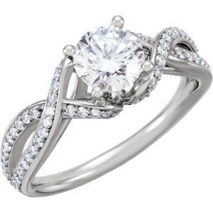 14K White Gold Infinity Twist Pave Diamond Engagement Ring