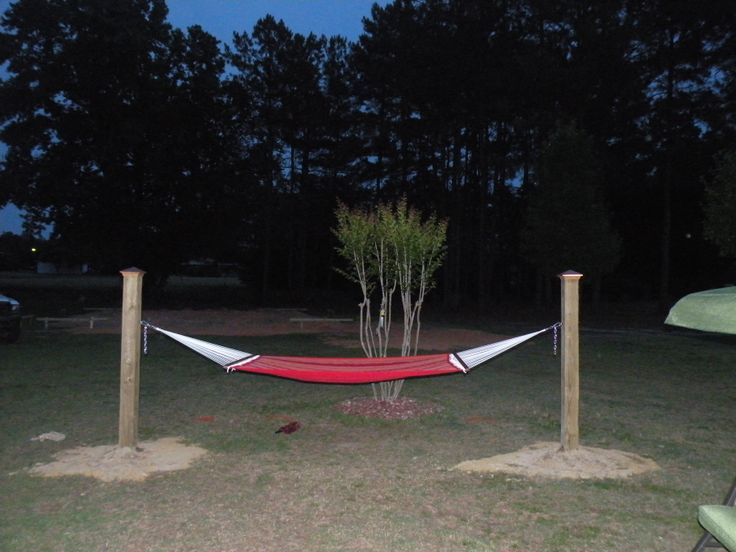 15 Ft Hammock Made Using 2 6x6 Treated Wood Posts Placed