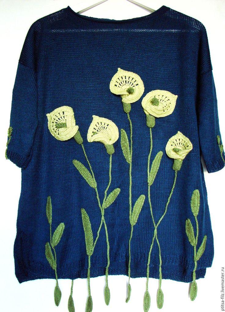 """Купить Джемпер """"Каллы"""" - комбинированный, цветочный, оригинальный джемпер, джемпер с цветаи, эко джемеер"""