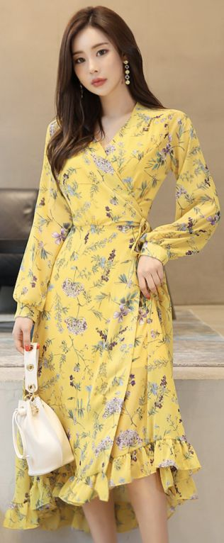 StyleOnme_Floral Print Ruffle Hem Long Wrap Dress #yellow #ruffle #floral #flower #dress #feminine #koreanfashion #kstyle #kfashion #springtrend #dailylook