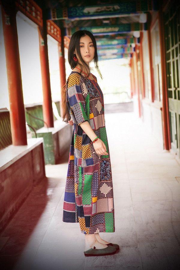 Women cotton linen summer dress 3/4 sleeve - Buykud -
