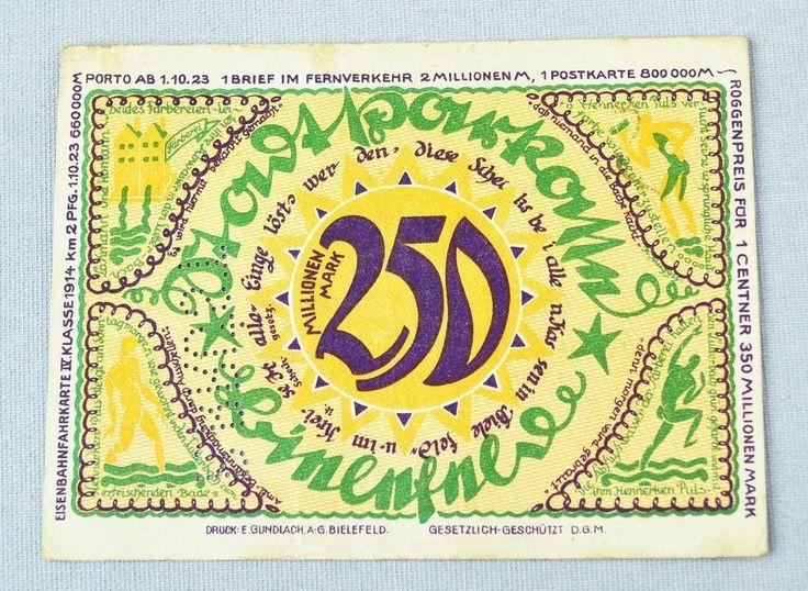 NOTGELD STADT BIELEFELD 250 MILLIONEN MARK 1923 NOTGELDSCHEIN ANTIK SELTEN RAR