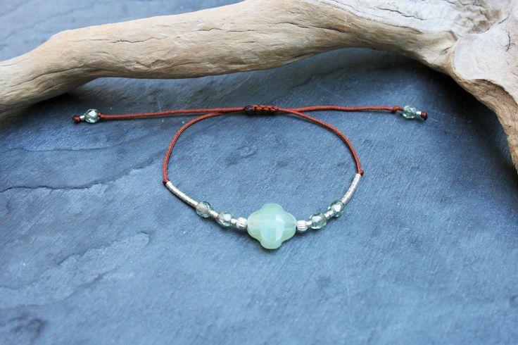 Bracelet trèfle vert, lien cordon sienne, perles de verre Miyuki et argent 925 : Bracelet par marathi-bijoux