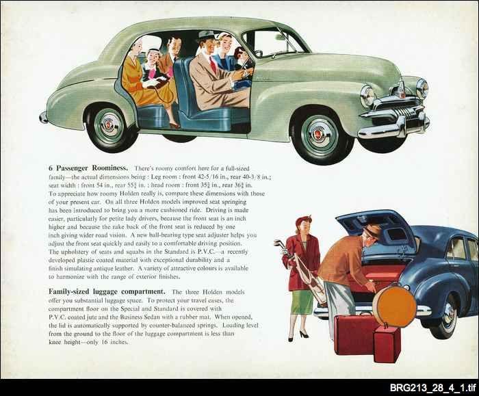 Brochure advertising the features of the FJ Holden. The FJ was the second model of the Holden and essentially a facelift of the 48-215. The major differences were the new horizontal style grille and differently shaped hubcaps and tail lights.