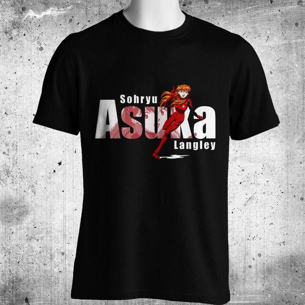 Asuka Langley Soryu Anime Black T-Shirt FREE SHIPPING