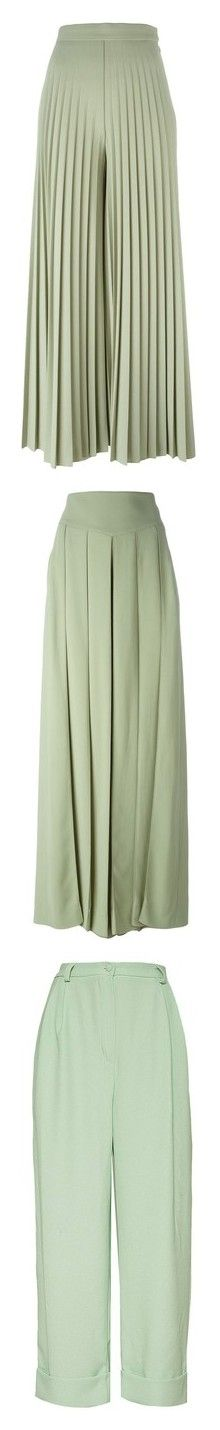 """""""Women's Mint Pants"""" by eternalfeatherfilm on Polyvore featuring pants, bottoms, trousers, givenchy, green, green trousers, cropped pants, pleated palazzo trousers and pleated pants"""