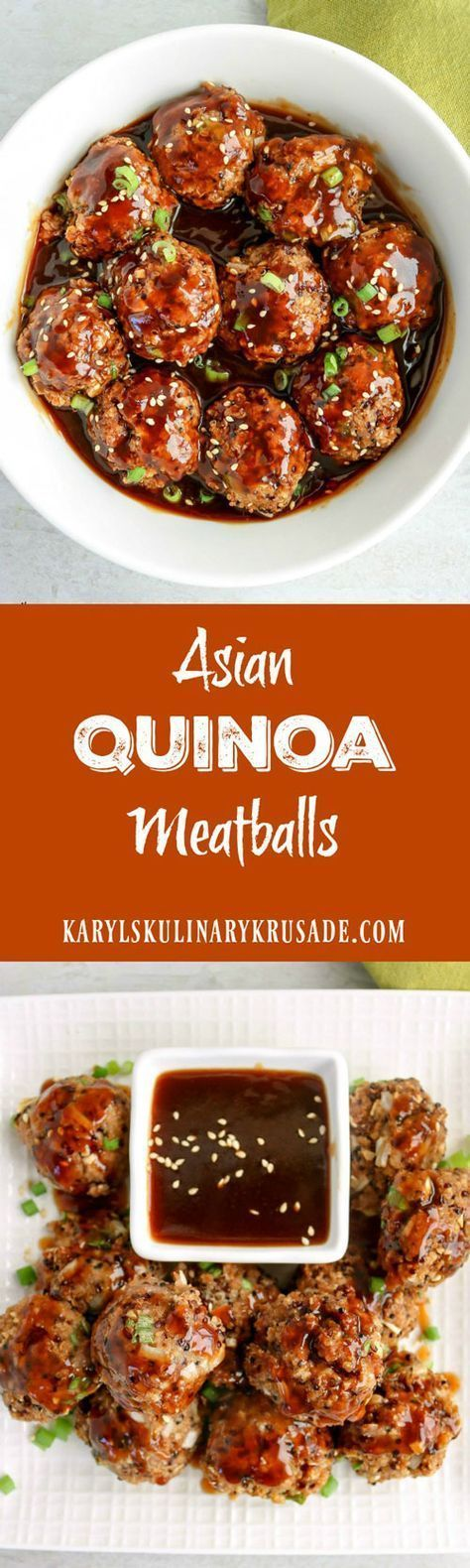 Asian Quinoa Meatballs is the perfect appetizer or lunch. Quinoa and ground turkey form a delicious and healthy meatball that you will love. Top or dip with an Asian-style sauce for a wonderful, silky finish #quinoa #turkey #baked #meatballs #healthy #baked #asianinspired #karylskulinarykrusade