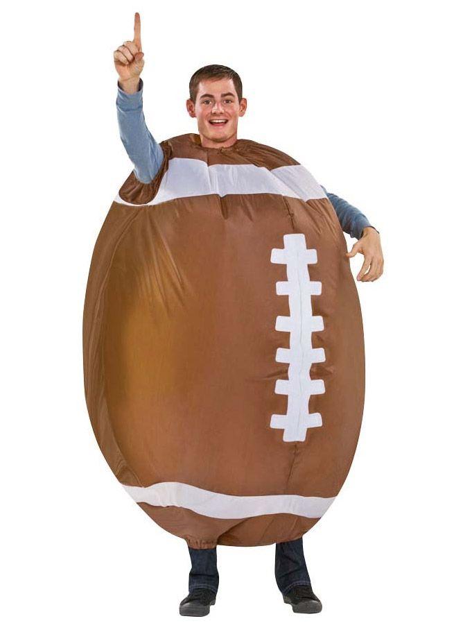 Disfraz de fútbol americano hinchable para adulto: Este disfraz de balón de fútbol americano para adulto incluye un traje hinchable de color marrón y blanco.Se cierra con una cremallera por la espalda. Funciona con un...